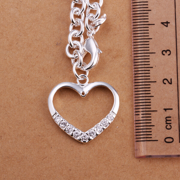 Allison Heart 925 Silver Plated Necklace